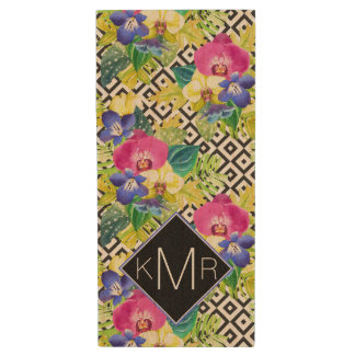 Orchid Begonia And Palm Leaves | Monogram Wood USB 2.0 Flash Drive