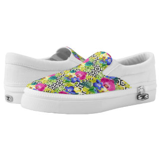 Orchid Begonia And Palm Leaves Printed Shoes