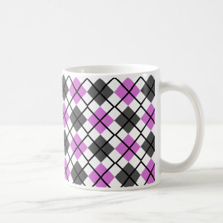 Orchid, Black, Grey on White Argyle Print Mug