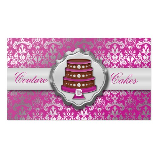 Orchid Cake Couture Glitzy Damask Cake Bakery Business Cards