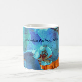 Orchid Cascade Bright Blue Blooms on Yellow Magic Mug