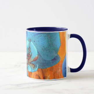 Orchid Cascade Bright Blue Blooms on Yellow Mug