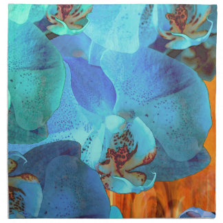 Orchid Cascade Bright Blue Blooms on Yellow Napkin