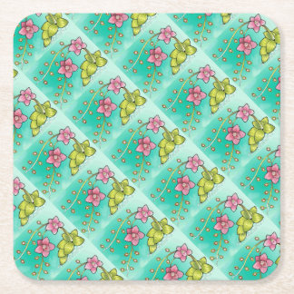 Orchid Color Square Paper Coaster