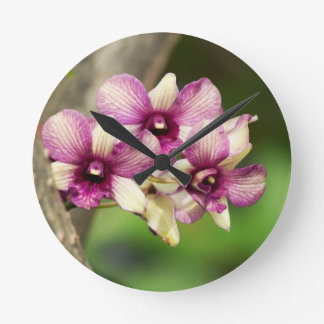 Orchid Delight Round Clock