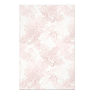 Orchid Engraving Pattern On Beige Background Customised Stationery
