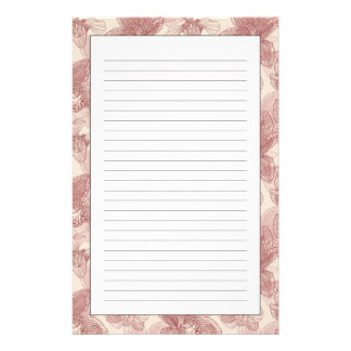 Orchid Engraving Pattern On Beige Background Stationery