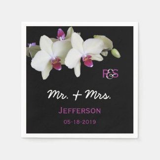 Orchid Floral Wedding Paper Napkins