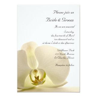Orchid Flower on White Wedding 13 Cm X 18 Cm Invitation Card