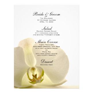 Orchid Flower on White Wedding Menu 21.5 Cm X 28 Cm Flyer