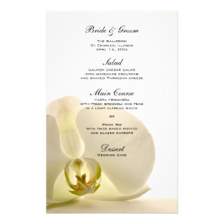 Orchid Flower on White Wedding Menu Stationery Design
