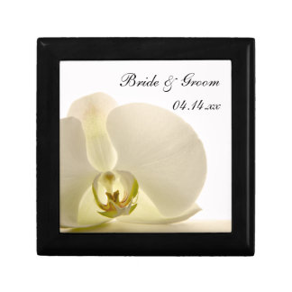 Orchid Flower on White Wedding Small Square Gift Box