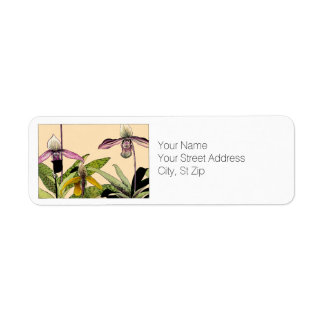 Orchid Flowers Botanical Art Return Address Label