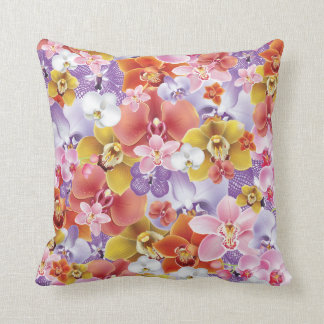 Orchid Flowers Design Floral Print Throw Pillow