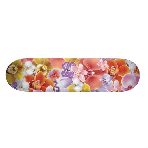 Orchid Flowers Design Skateboard Print