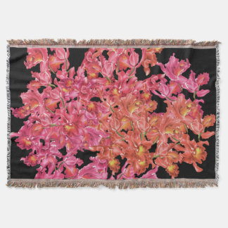 Orchid Flowers Throw Blanket