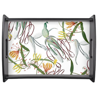 Orchid Glory Lily Flowers Serving Tray