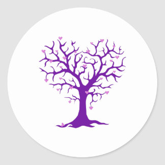 Orchid Heart Purple Tree Round Sticker