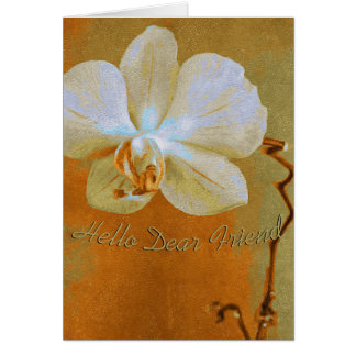 Orchid In Shades of Orange Card