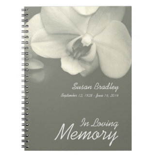 Orchid Kaki Floral Photography Funeral Guest Book