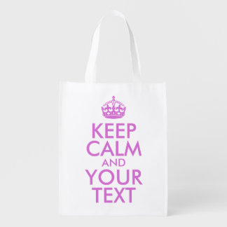 Orchid Keep Calm and Your Text Reusable Grocery Bag