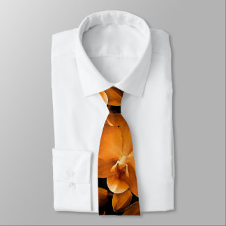 Orchid lovers gold on black tie