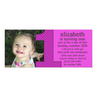 Orchid One Is Fun Photo First Birthday Party 10 Cm X 24 Cm Invitation Card