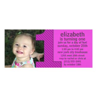 Orchid One Is Fun Photo First Birthday Party Custom Invitations