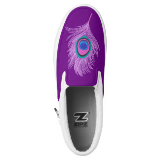 Orchid Peacock Feather on Amethyst Purple Slip-On Shoes