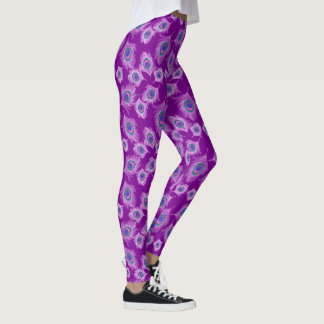 Orchid Peacock Feathers on Amethyst Purple Leggings