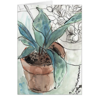 Orchid Pen & Ink sketch greeting Card