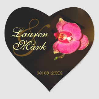 Orchid Photo Save the Date Heart Sticker