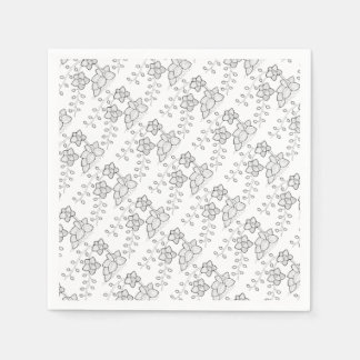 Orchid Plant Line Art Design Disposable Serviette