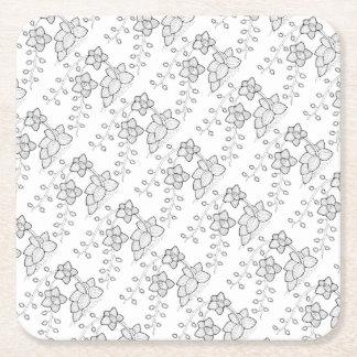 Orchid Plant Line Art Design Square Paper Coaster