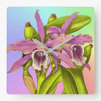Orchid Pop Square Wall Clock