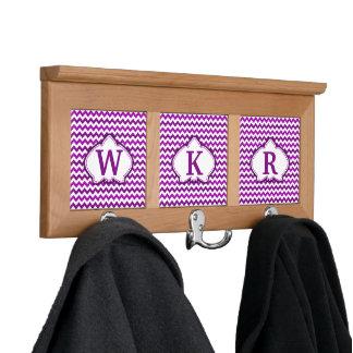 Orchid Purple Chevron Personalized Monogram Coat Rack