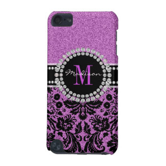 Orchid purple glitter Damask, Name and Monogram iPod Touch (5th Generation) Covers