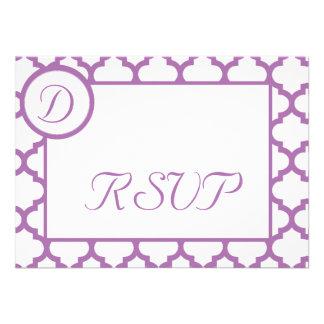 Orchid Quatrefoil Monogram RSVP Card