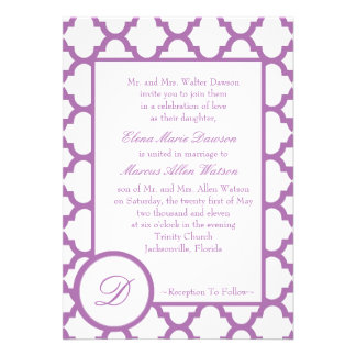 Orchid Quatrefoil Monogram Wedding Invitation