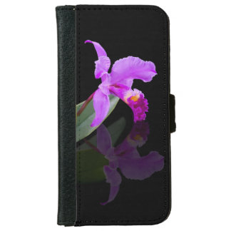Orchid Reflected on Black Floral iPhone 6 Wallet Case