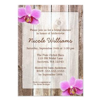 Orchid Rustic Barn Wood Bridal Shower 13 Cm X 18 Cm Invitation Card