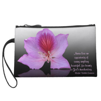 Orchid tree flower bag with quote wristlet clutch