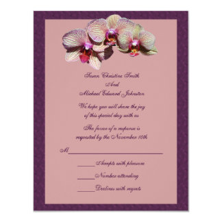 "Orchid Trio Floral Wedding Response RSVP 4.25"" X 5.5"" Invitation Card"