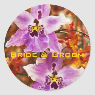 Orchid Tropical Wedding Stickers