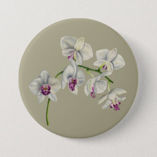 Orchid Watercolor Painting 7.5 Cm Round Badge