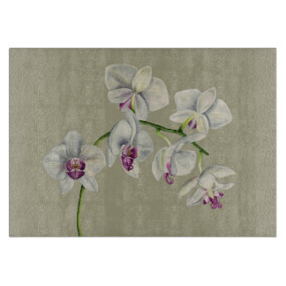 Orchid Watercolor Painting Cutting Board