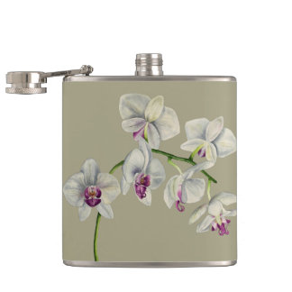 Orchid Watercolor Painting Hip Flask