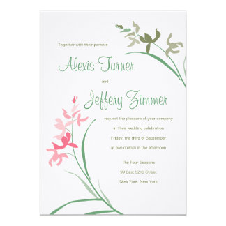 Orchid Wedding Invitation - Guava and Clover