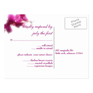 Orchid Wedding RSVP Postcard