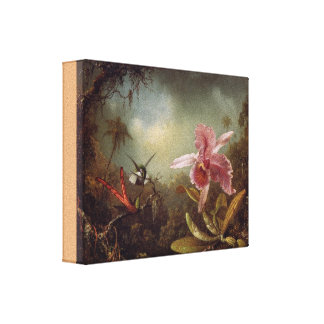 Orchid with Two Hummingbirds by Martin Heade Canvas Print